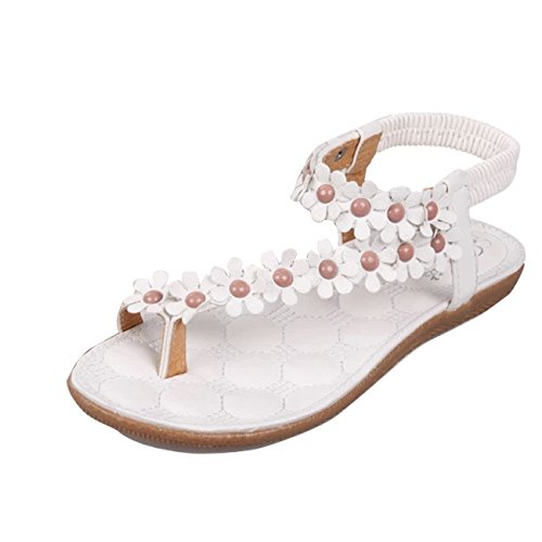Women Ladies Beach Bohemia Sandals Slingback Ankle Strap Slingback Rhinestone Flower Flats Thong Slipper - Flats Sandals For Women Under $5