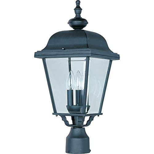 Post Lantern Cast Black - Maxim 3008BK Builder Cast Aluminum Outdoor Post Lighting 9 by 24 Inch - Outdoor Light Fixtures for Lobby, Courtyard, Balcony, Dockyard. Lighting Accessory