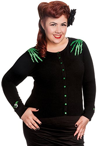 Hell Bunny Plus Size Spooky Halloween Gothic Black Green Doomed Cardigan (2X) (Bunny For Halloween)