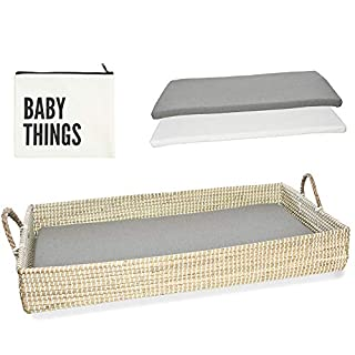 Baby Changing Basket Including Waterproof Diaper Changing Pad & Sheet | Eco-Friendly, Handmade and Woven with Natural Seagrass Table Topper for Dresser