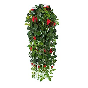 JZHY Hanging Artificial Plants with Hanging Basket Silk Flower Rose Garland Vine for Wedding Home Outdoor Decoration and Wall Décor(Red) 101