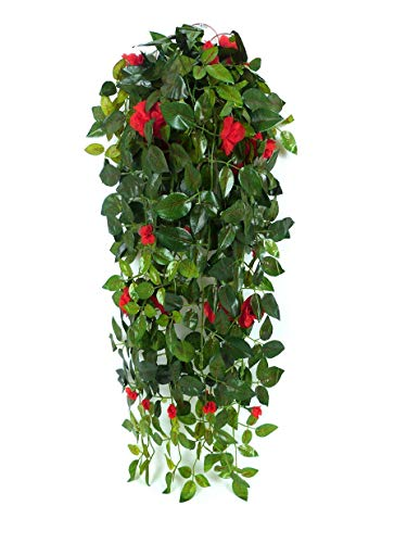 JZHY Hanging Artificial Plants with Hanging Basket Silk Flower Rose Garland Vine for Wedding Home Outdoor Decoration and Wall Décor(Red)