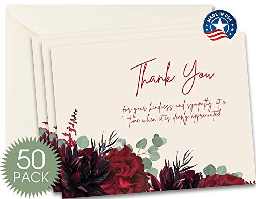 50 Funeral Thank You Sympathy Acknowledgement Note Cards with Envelopes, Bulk Funeral Thank You Notes (Floral Eucalyptus)