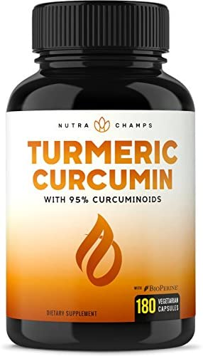 Turmeric Curcumin with BioPerine 1500mg – 180 Capsules with 95 Curcuminoids Extra Strength Supplement w Black Pepper Extract for Pain Relief, Joint Support, Inflammation – Highest Potency