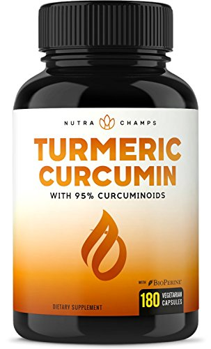 Turmeric Curcumin with BioPerine 1500mg - 180 Capsules with 95% Curcuminoids Extra Strength Supplement w Black Pepper Extract for Pain Relief, Joint Support, Inflammation - Highest Potency ()