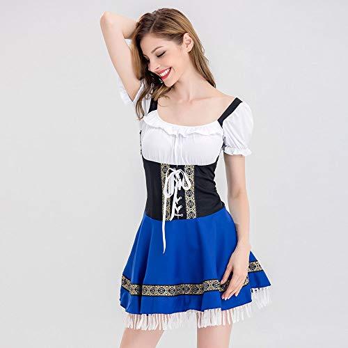 Blu Tassel Oktoberfest donna polo Blu Stile impero top Ragazza donna Sera shirt Dirndl Bandage lungo Da donna bavarese e vestito Costume estivo T Vestito della birra da U5qTZxw