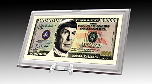 American Art Classics Spock Leonard Nimoy Star Trek Collectible Million Dollar Bill in Currency (All Star Keepsake Box)