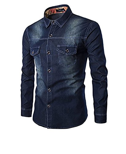 Allthemen Jeans manica Sports uomo da da blu scuro in a in Shirt lunga Men's Denim ragazzo TrqTR4