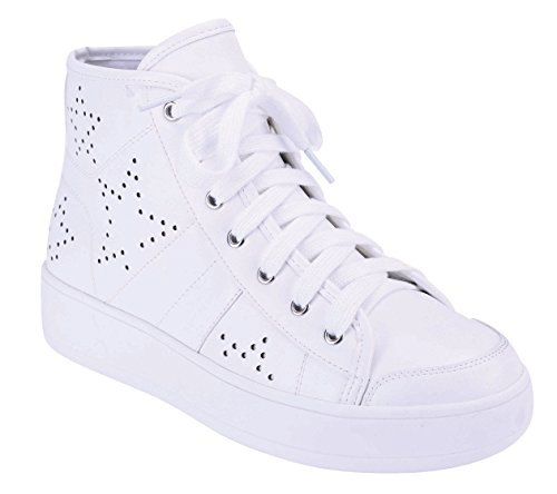 Cambridge Select Womens Closed Round Toe Lace-Up Perforated Star Print High Top Casual Sport Fashion Sneaker White WJ3U4NQH8