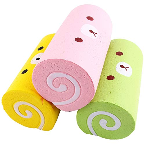1 piece 15CM Cute Jumbo Cartoon Bear Cake Roll Squishy Slow Rising Bread Sweet Kid Toy Gift Squeeze Toy Phone Strap P10