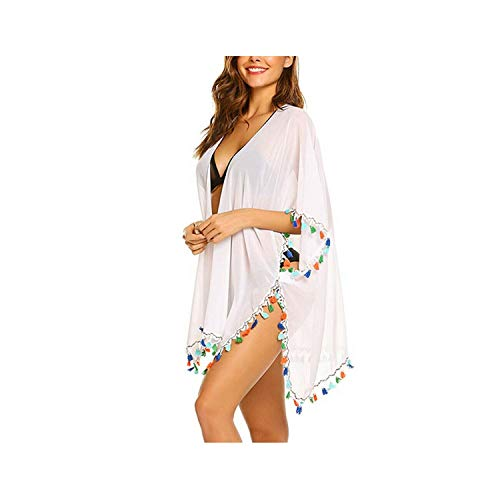 (two- Sexy Women Cover Up Tassels Bathing Suit Ladies Bikini Swimwear Cover Up Beach Dress Sarong Wrap Beach Wear,As Photo Shows,One Size)