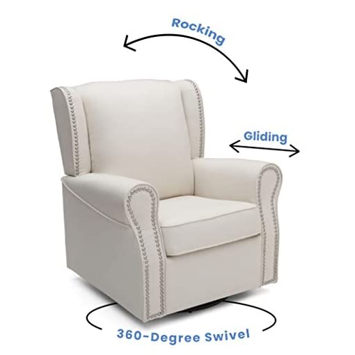Living Room Delta Children Middleton Upholstered Glider Swivel Rocker Chair, Cream