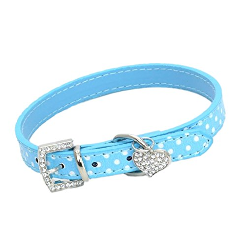 Jili Online Adjustable Dotted Pet Puppy Dog Collar Necklace with Heart Pendant, 3 Sizes and 5 Colors Available - Blue, M -