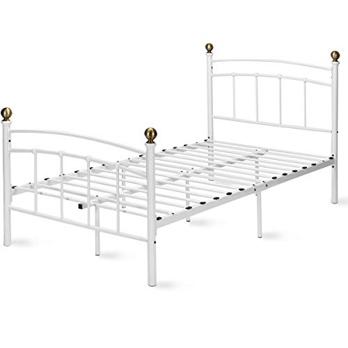 (Giantex Metal Bed Frame Metal Platform Slat Support with Headboard and Footboard Home Bedroom Furniture Mattress Foundation with 9 Legs (White, Twin Size))