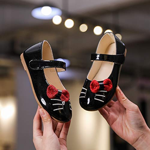 Randolly Toddler Shoes,Children Kids Girls Cat Cartoon Bowknot Princess Dance Single Casual Shoes Black by Randolly (Image #3)