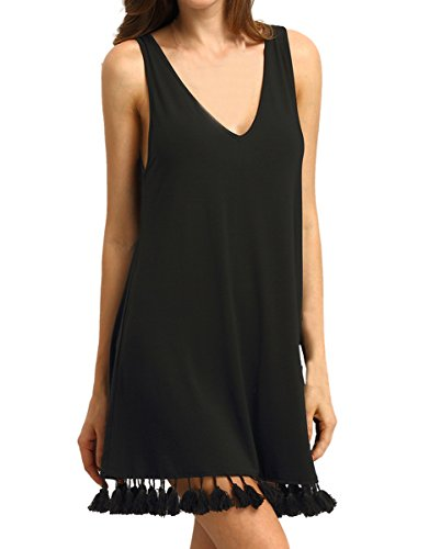 ROMWE Women's Summer Casual Sleeveless Tassel Loose Tunic Swing Dress Black M