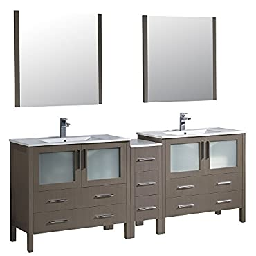 Fresca Bath FVN62-361236GO-UNS Torino 84 Modern Double Sink Bathroom Vanity with Integrated Sinks, Gray Oak