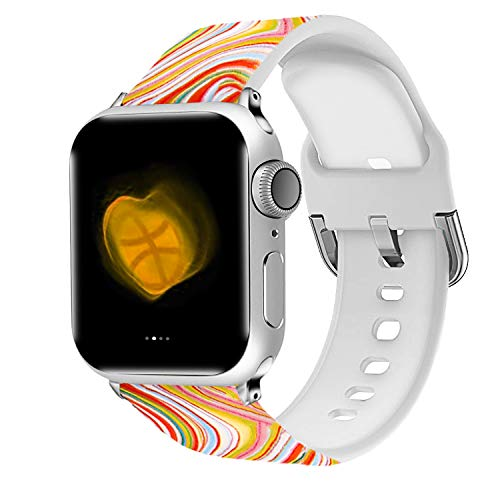 - Uhada Compatible Apple Watch Series 4/3/2/1 Band 38mm 40mm 42mm 44mm, Choose Color-Soft Silicone Fashion Classic Slim Sports Replacement for iWatch Bands (Flower-01, 38mm/40mm)