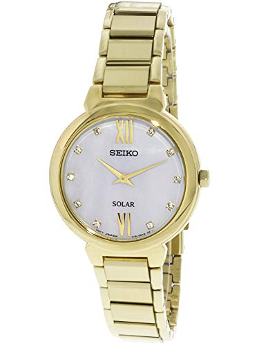 (Seiko Women's Solar 30mm Gold-Tone Steel Bracelet & Case Hardlex Crystal MOP Dial Analog Watch SUP384P1)