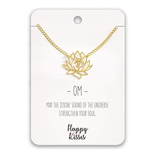 Happy Kisses Yoga Lotus Flower Necklace with OM Symbol - Cute Lotus Pendant Charm - with Empowering Message Card -Gold Plated (Gold)