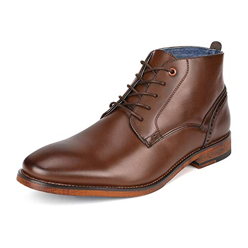 Mens Brown Dress Boots - Bruno Marc Men's Gale_1 Dark Brown Dress Combat Chukka Oxfords Boots Size 13 M US