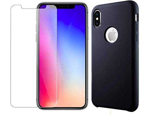 Candy Case Ultra Slim Matte Skin Protective Colorful Soft Silicone TPU Back Phone Case Tempered Glass Bundle iPhone Xs MAX (Black - Licorice Matte
