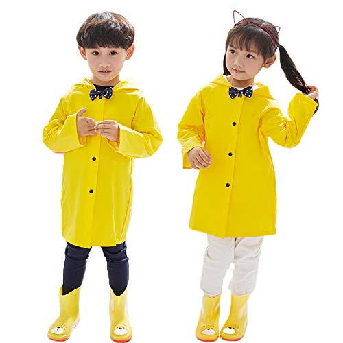 Aoduoer Kids Rain Jacket Packable Hooded Rain Coat Girls Boys Toddlers Rain Gear, Halloween Cosplay Costumes (XL/5T-6T, Yellow) ()