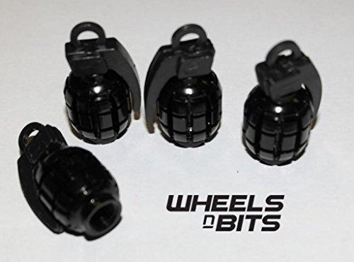BMW ALL MODELS BLACK GRENADE VALVE CAPS DUST DUSTIES CAP SET OF 4 Wheels N Bits