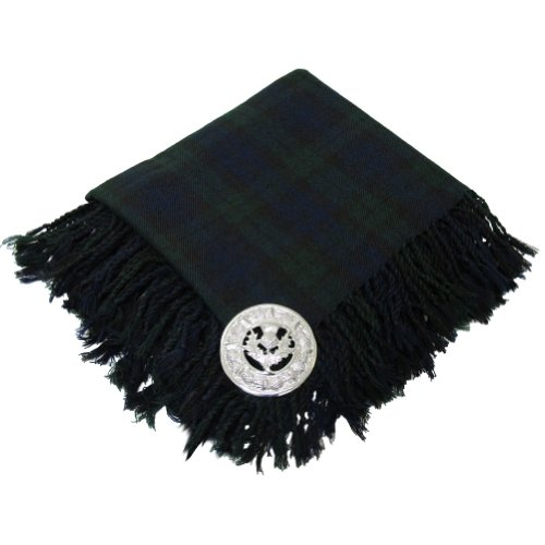 Tartanista Mens Scottish Tartan Kilt Fly Plaid with Thistle Brooch Black Watch