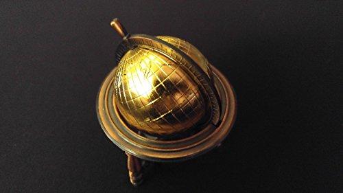 WORLD GLOBE Collectible Pencil Sharpener Antiqued Bronze Die-Cast w/ Plastic Globe Pencil Sharpener