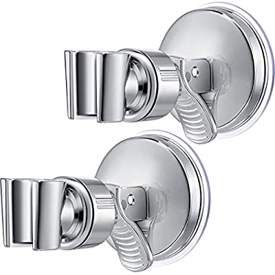2 Pack Adjustable Shower Head Holder Bathroom Suction Cup Handheld Shower Head Holder Mounting Bracket Plastic ABS with Chrome Polished for Marble Glass Metal Ceramic