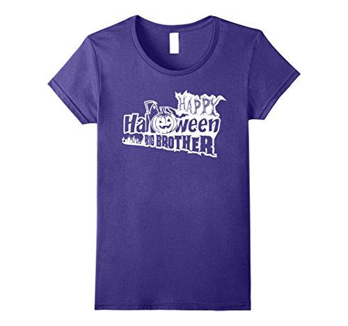 Womens HAPPY HALLOWEEN - PROUD I AM A BIG BROTHER T-SHIRT Medium Purple - Big Sister Little Brother Halloween Costumes