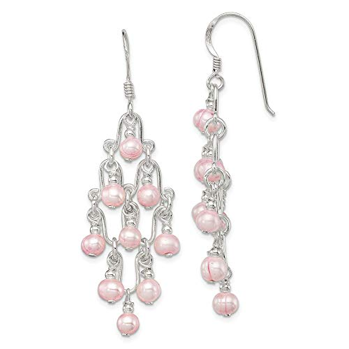 - 925 Sterling Silver Pink Freshwater Cultured Pearl Drop Dangle Chandelier Earrings Fine Jewelry Gifts For Women For Her