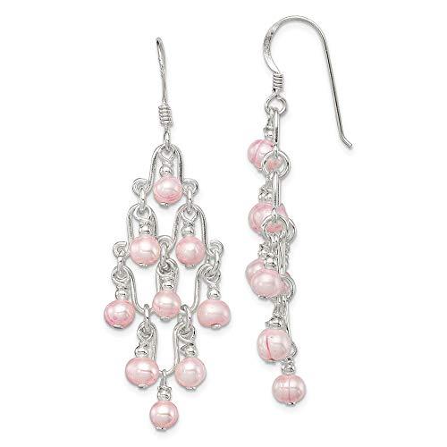 (Mia Diamonds 925 Sterling Silver Solid Pink Fw Cultured Pearl Fancy Dangle Earrings (44mm x 19mm))