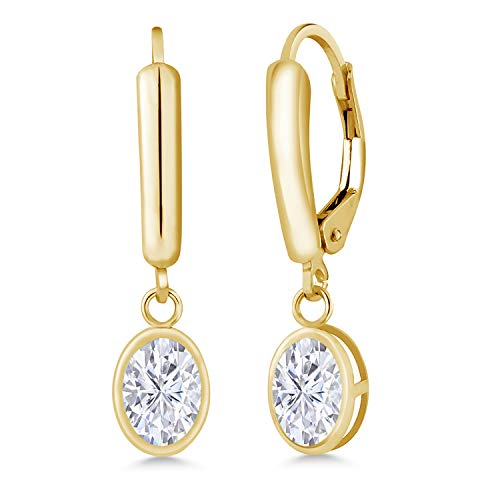 14K Yellow Gold Dangle Earrings Forever Brilliant (GHI) Oval 1.80ct (DEW) Created Moissanite by Charles & Colvard