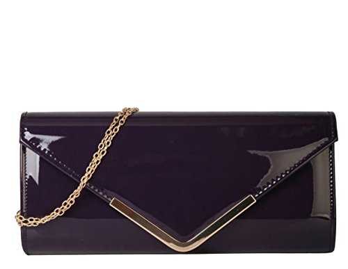 Lined Patent Leather Clutch - Rimen & Co. PU Leather Patent Shiny Stylish Metal Chain Cross Body Evening Cocktail Party Clutch Handbag Purse EB-022 Purple
