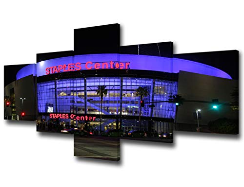 Art Work for Home Walls Los Angeles CA - Staples Center Landscape Pictures for Living Room NBA American Basketball Paintings 5 Piece Canvas Wall Art Modern Artwork Framed Ready to Hang - 50''Wx24''H