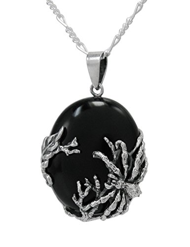 Sterling Silver Spider Onyx Pendant Necklace