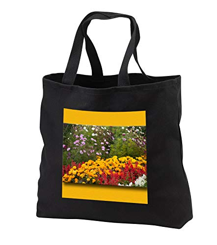 - Jos Fauxtographee- Flowering Garden Framed - Framed on the top and bottom in gold a bed of flowers in spring - Tote Bags - Black Tote Bag JUMBO 20w x 15h x 5d (tb_300179_3)