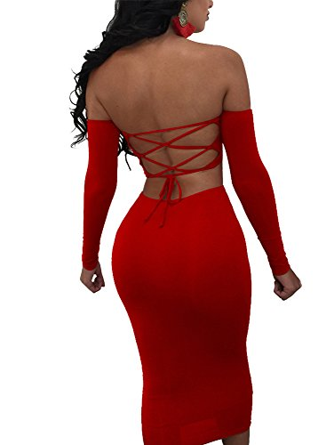 TOB Women's Sexy 2 Piece Back Lace Up Club Crop Top Bodycon Midi Dress (Red Outfit)