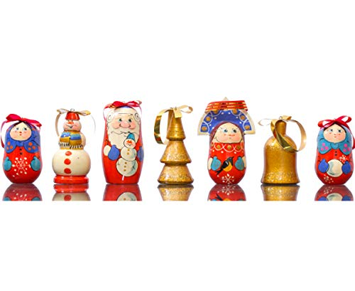 craftsfromrussia Christmas Ornaments - Set of 7 - Wooden Handmade Ornaments (7, Design C)