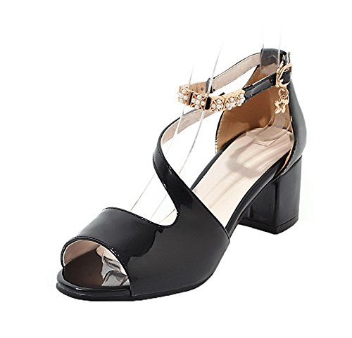 AllhqFashion Women's Kitten-Heels Patent Leather Solid Sandals, FBULD014509, Black, 40