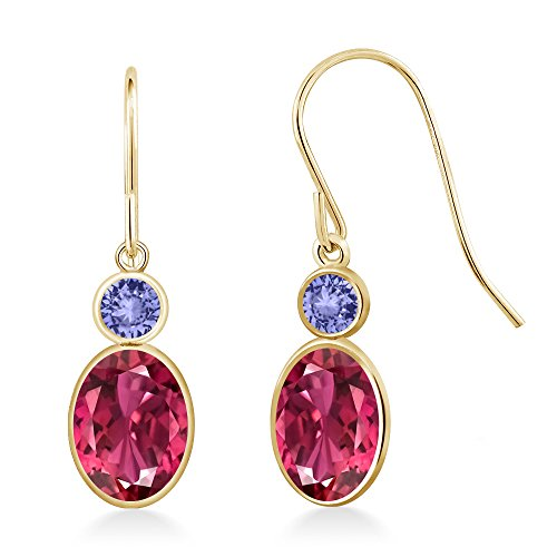 Gem Stone King 1.94 Ct Oval Pink Tourmaline Blue Tanzanite 14K Yellow Gold ()