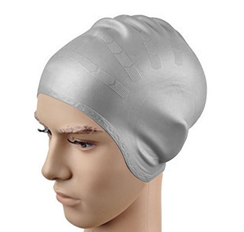 Silicone Swimming Cap - Long Hair Swimming Cap with High Elasticity and Durability Designed for Swimmers, Unisex for Men, Women, Adults, Girls and Boys (gray)