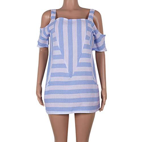 Rayures Printemps lgant 2018 Automne Bleu t Chemisier Casual Confortable Tops Jolie Femme Mode Nouvelle paule Clair lache Chemisier Femmes Froide Hiver Manches Courtes 6qXdxEw68