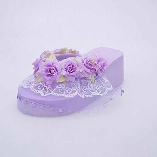 con cm Encaje Inferior de Zapatillas 6 violeta LGK para amp;FA Mujer Playa v8nY0w