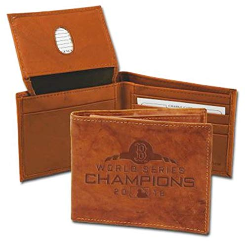 Rico Industries, Inc. Boston Red Sox 2018 World Series Champions Bifold Wallet Premium Brown Leather Billfold Embossed Baseball ()