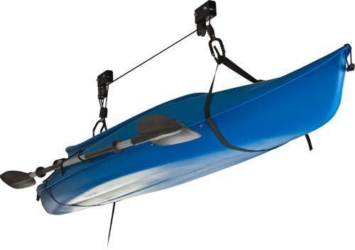 COSTWAY Elevador de Kayak Elevador de Techo para Bicicleta Canoa con Polea de Gancho y Cuerda Carga hasta 45 kg