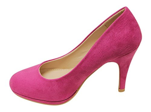 Bella Marie Womens Nine-1 Suede Almond Toe Classic Pumps Stiletto Party Dress Heel Fuchsia GFDebW