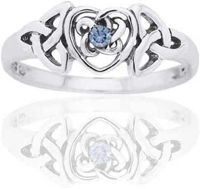 March Birthstone Ring - Sterling Silver Simulated Aquamarine Celtic Trinity Knot Heart @Size(Sizes 4,5,6,7,8,9,10)